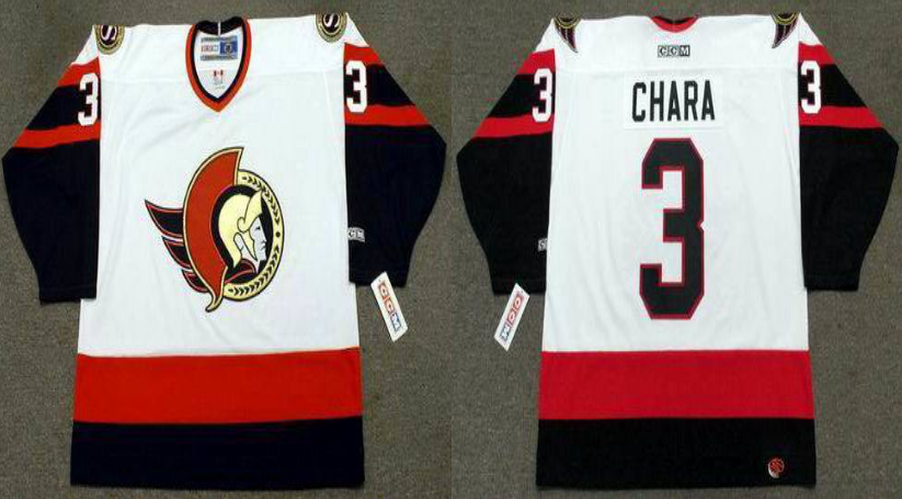 2019 Men Ottawa Senators 3 Chara white CCM NHL jerseys