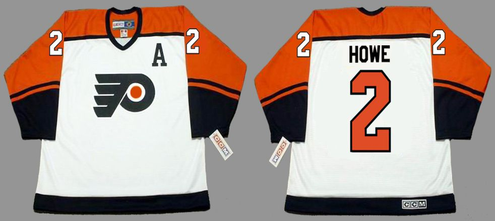 2019 Men Philadelphia Flyers 2 Howe White CCM NHL jerseys
