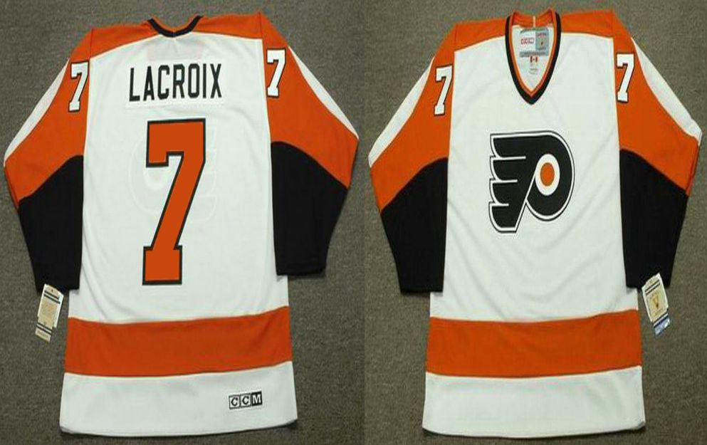 2019 Men Philadelphia Flyers 7 Lacroix White CCM NHL jerseys