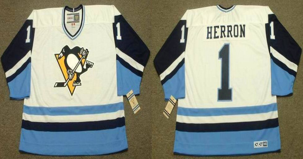 2019 Men Pittsburgh Penguins 1 Herron White blue CCM NHL jerseys