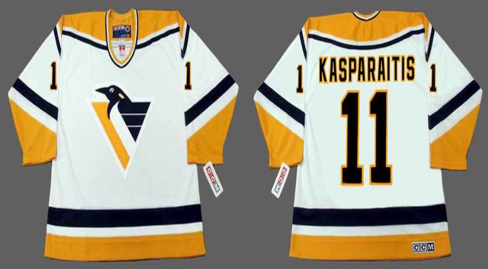 2019 Men Pittsburgh Penguins 11 Kasparaitis White CCM NHL jerseys