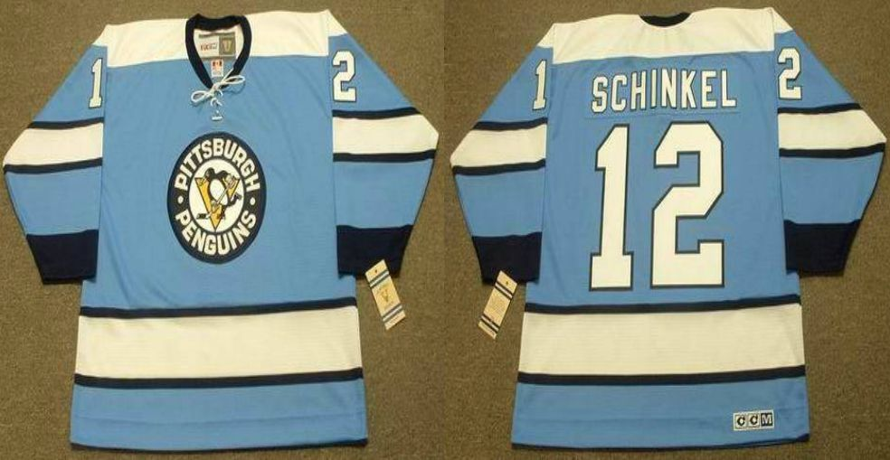 2019 Men Pittsburgh Penguins 12 Schinkel Light Blue CCM NHL jerseys