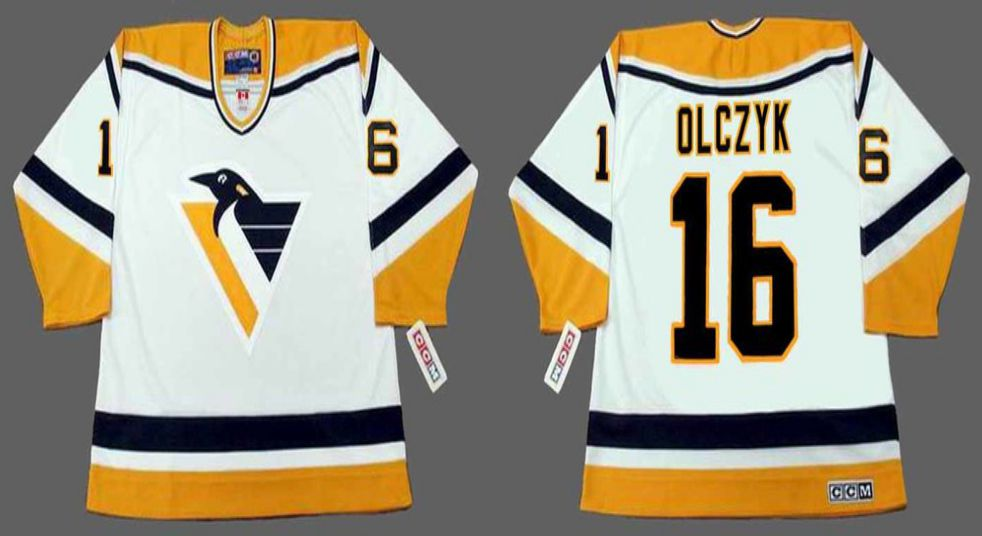 2019 Men Pittsburgh Penguins 16 Olczyk White CCM NHL jerseys