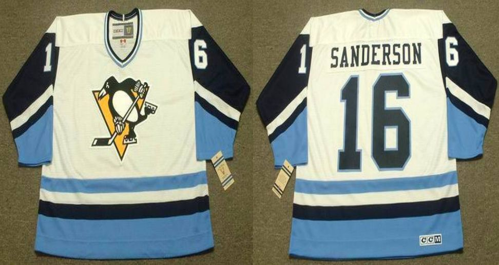 2019 Men Pittsburgh Penguins 16 Sanderson White blue CCM NHL jerseys