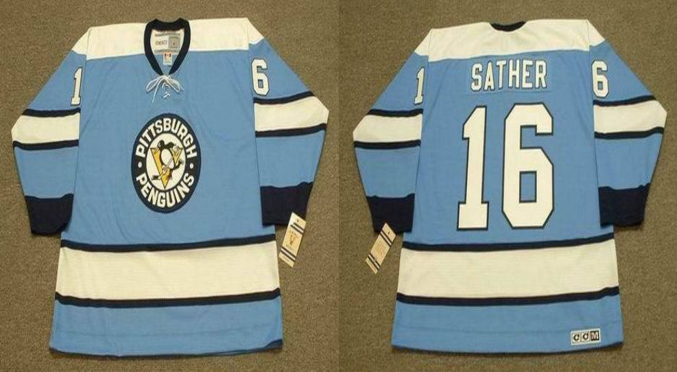 2019 Men Pittsburgh Penguins 16 Sather Light Blue CCM NHL jerseys