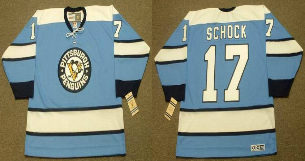 2019 Men Pittsburgh Penguins 17 Schock Light Blue CCM NHL jerseys