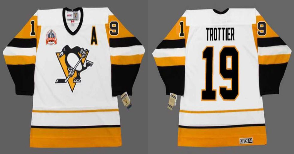 2019 Men Pittsburgh Penguins 19 Trottier White yellow CCM NHL jerseys