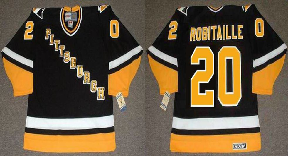 2019 Men Pittsburgh Penguins 20 Robitaille Black CCM NHL jerseys