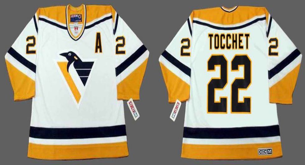 2019 Men Pittsburgh Penguins 22 Tocchet White yellow CCM NHL jerseys