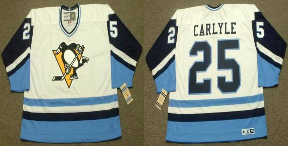 2019 Men Pittsburgh Penguins 25 Carlyle White blue CCM NHL jerseys