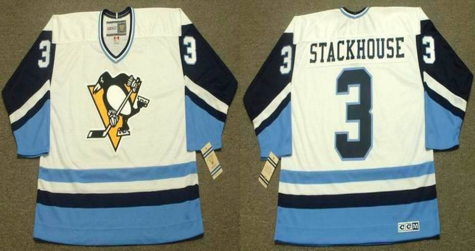2019 Men Pittsburgh Penguins 3 Stackhouse White blue CCM NHL jerseys