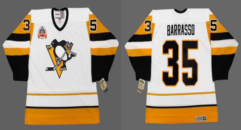 2019 Men Pittsburgh Penguins 35 Barrasso White yellow CCM NHL jerseys