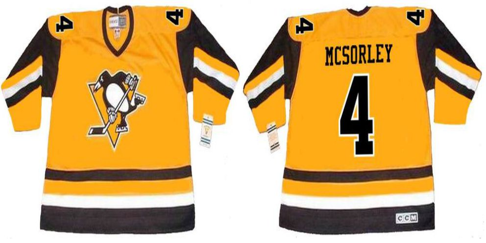 2019 Men Pittsburgh Penguins 4 Mcsorley Yellow CCM NHL jerseys