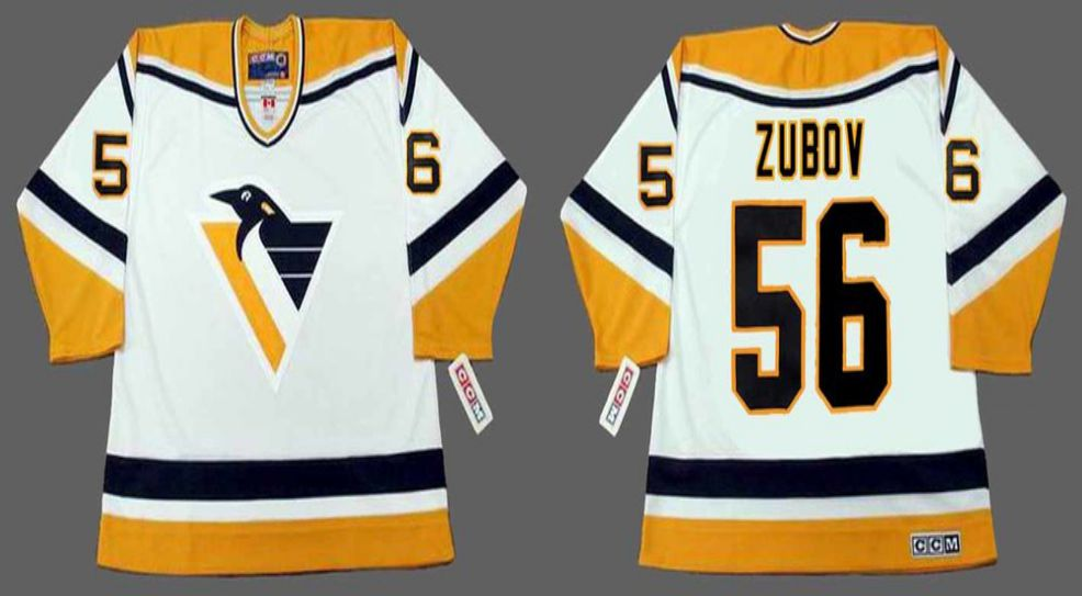 2019 Men Pittsburgh Penguins 56 Zubov White yellow CCM NHL jerseys