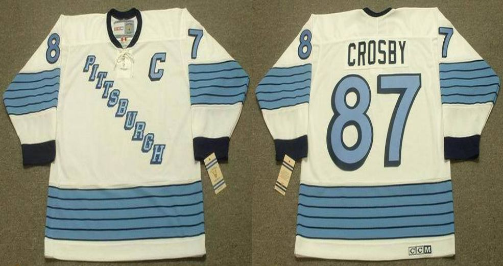 2019 Men Pittsburgh Penguins 87 Crosby White CCM NHL jerseys
