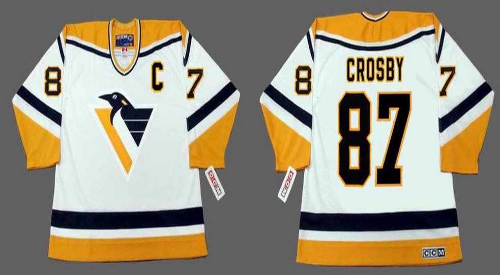 2019 Men Pittsburgh Penguins 87 Crosby White CCM NHL jerseys1