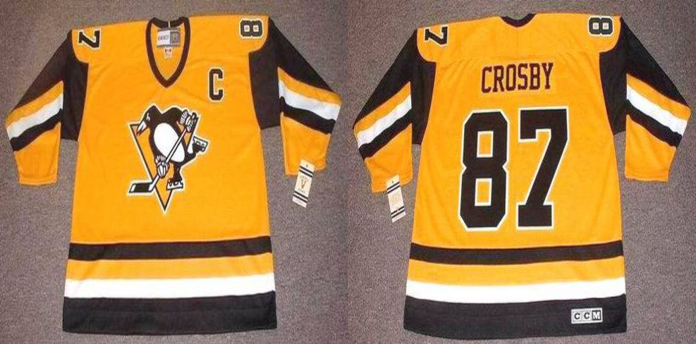 2019 Men Pittsburgh Penguins 87 Crosby Yellow CCM NHL jerseys