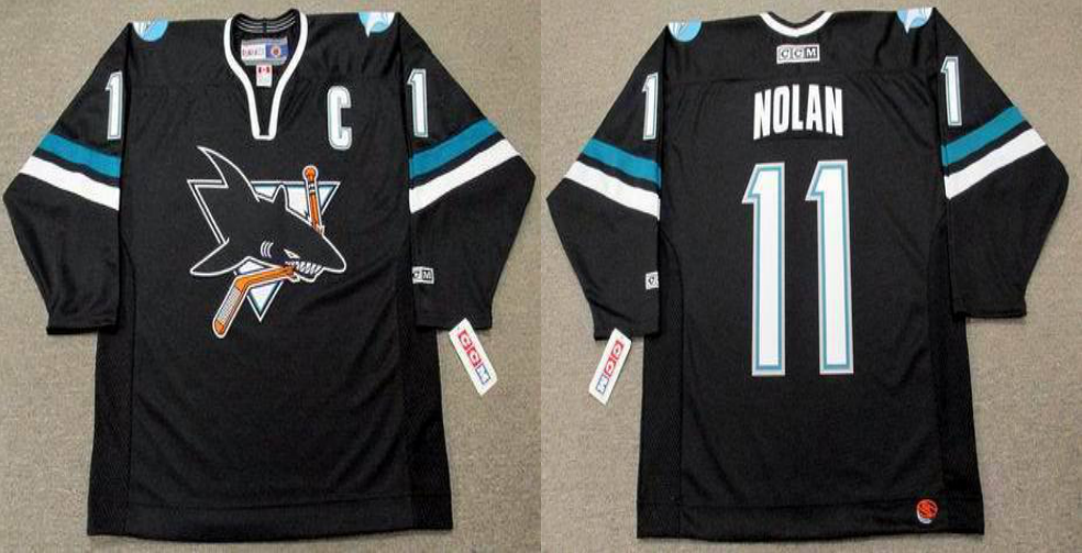 2019 Men San Jose Sharks 11 Nolan black CCM NHL jersey