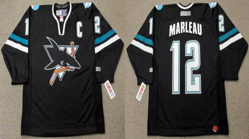 2019 Men San Jose Sharks 12 Marleau black CCM NHL jersey