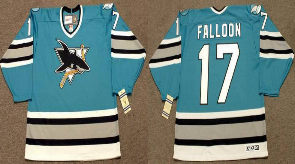 2019 Men San Jose Sharks 17 Falloon blue CCM NHL jersey