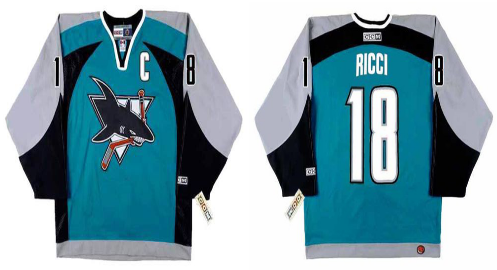 2019 Men San Jose Sharks 18 Ricci blue CCM NHL jersey
