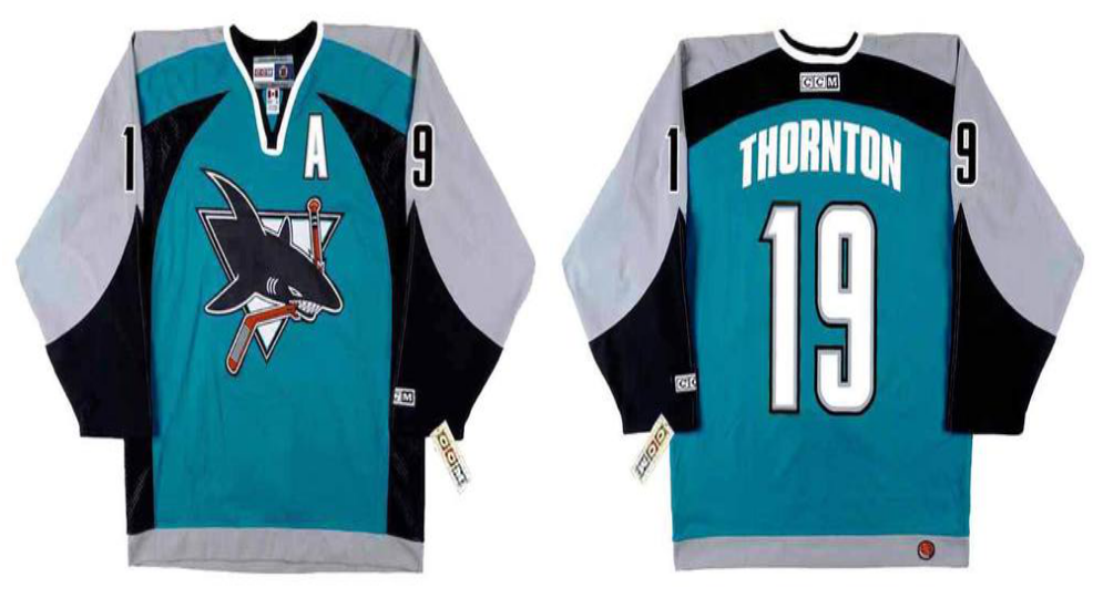 2019 Men San Jose Sharks 19 Thornton blue CCM NHL jersey