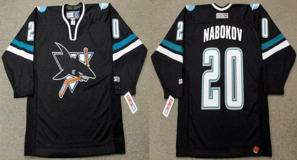 2019 Men San Jose Sharks 20 Nabokov black CCM NHL jersey