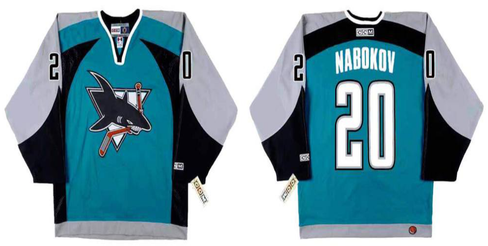 2019 Men San Jose Sharks 20 Nabokov blue CCM NHL jersey