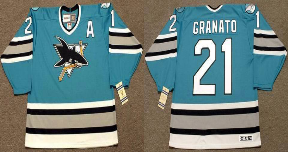 2019 Men San Jose Sharks 21 Granato blue CCM NHL jersey