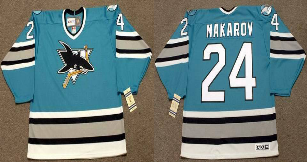 2019 Men San Jose Sharks 24 Makarov blue CCM NHL jersey
