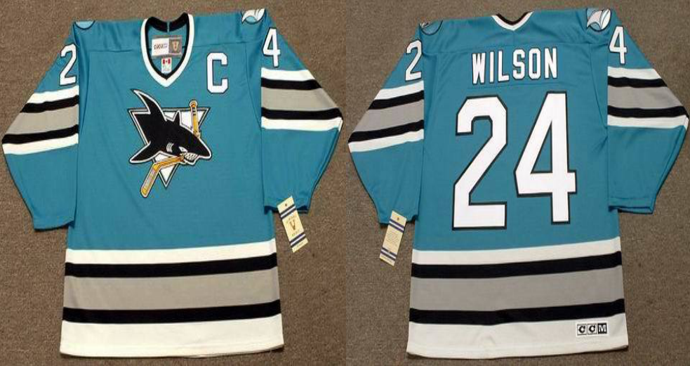 2019 Men San Jose Sharks 24 Wilson blue CCM NHL jersey