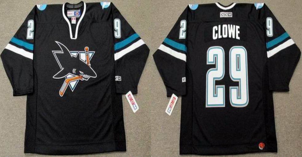 2019 Men San Jose Sharks 29 Clowe black CCM NHL jersey