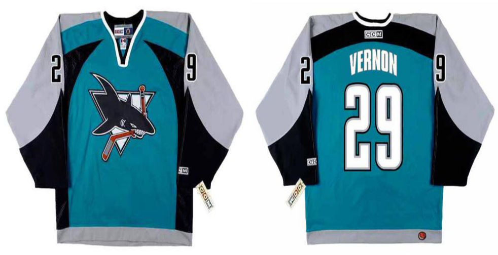 2019 Men San Jose Sharks 29 Vernon blue CCM NHL jersey