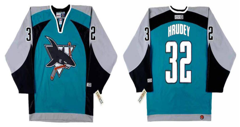 2019 Men San Jose Sharks 32 Hrudey blue CCM NHL jersey