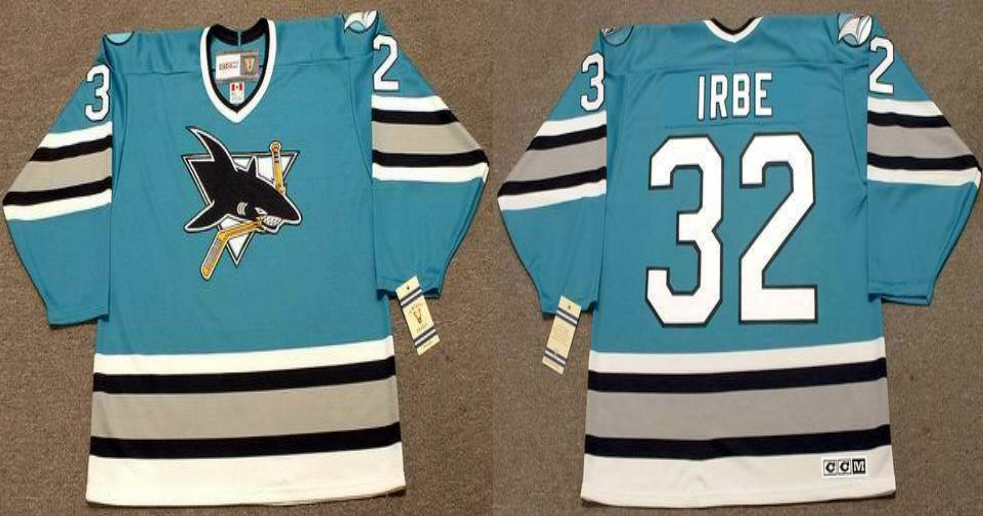 2019 Men San Jose Sharks 32 Irbe blue CCM NHL jersey