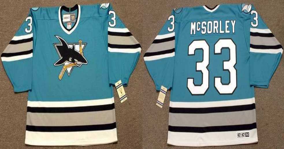 2019 Men San Jose Sharks 33 McSORLEY Blue CCM NHL jersey