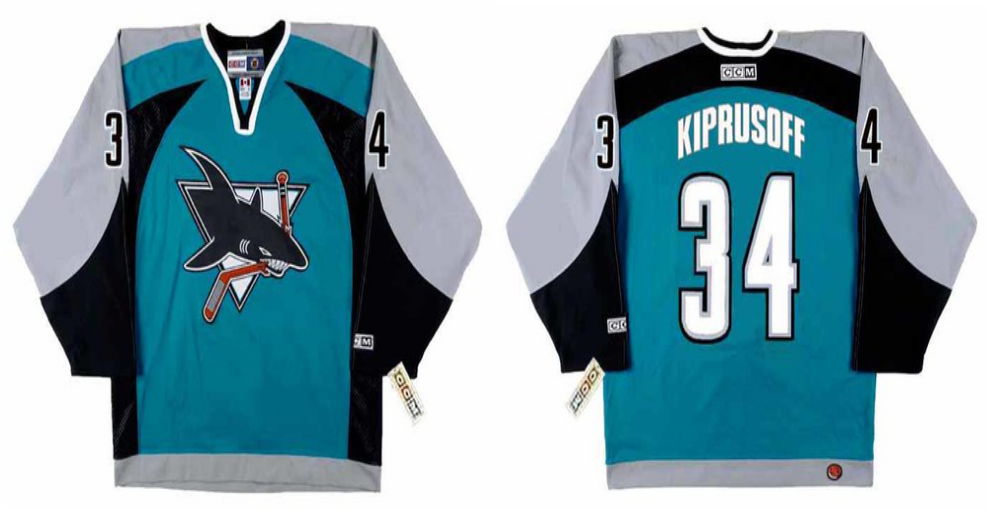 2019 Men San Jose Sharks 34 Kiprusoff blue CCM NHL jersey