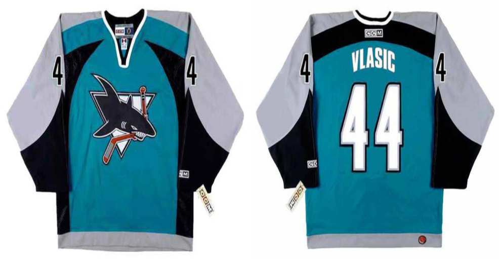 2019 Men San Jose Sharks 44 Vlasic blue CCM NHL jersey