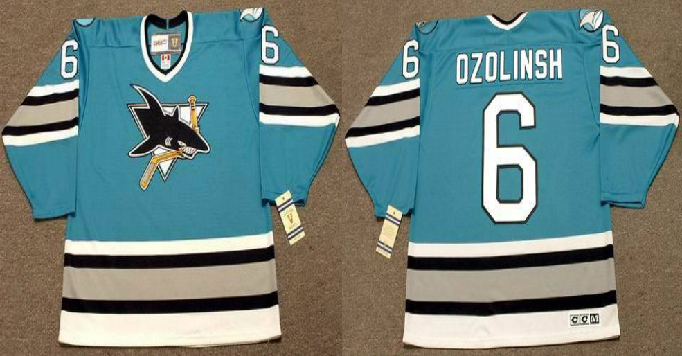 2019 Men San Jose Sharks 6 Ozolinsh blue CCM NHL jersey