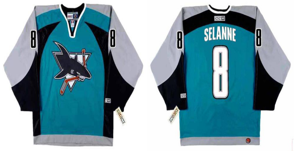 2019 Men San Jose Sharks 8 Selanne blue CCM NHL jersey