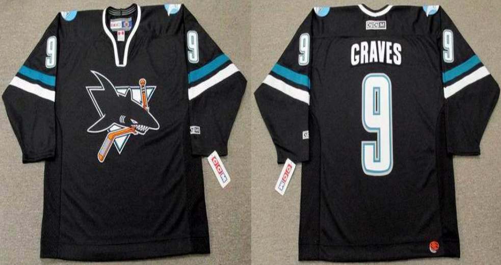 2019 Men San Jose Sharks 9 Graves black CCM NHL jersey