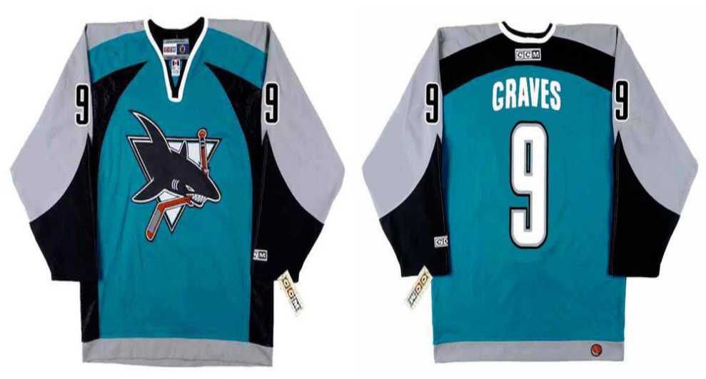 2019 Men San Jose Sharks 9 Graves blue CCM NHL jersey