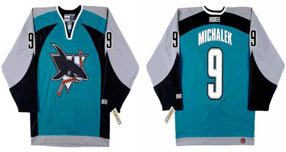 2019 Men San Jose Sharks 9 Michalek blue CCM NHL jersey
