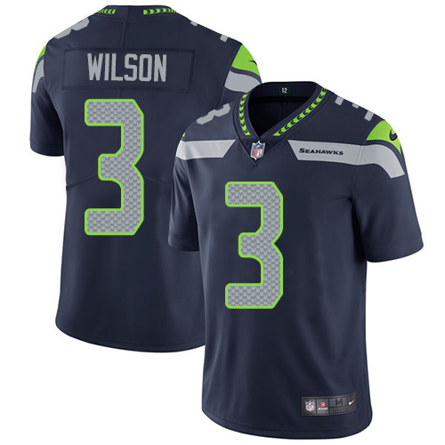 2019 Men Seattle Seahawks 3 Wilson blue Nike Vapor Untouchable Limited NFL Jersey