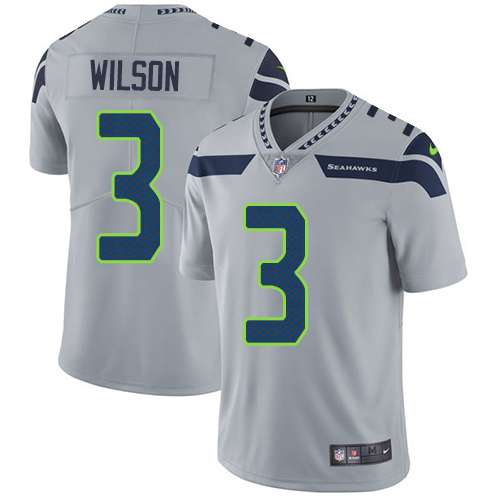 2019 Men Seattle Seahawks 3 Wilson grey Nike Vapor Untouchable Limited NFL Jersey
