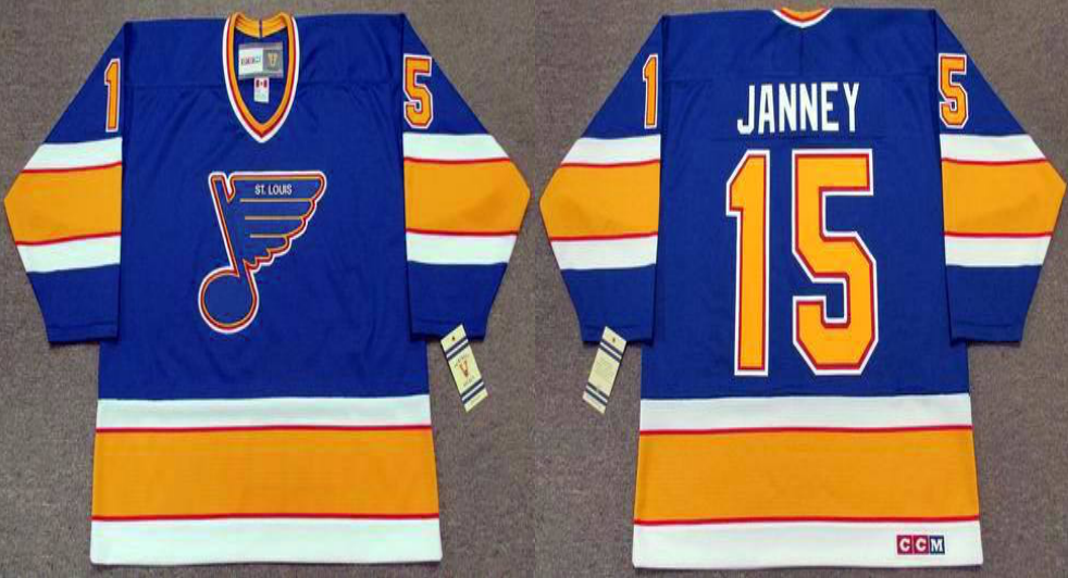2019 Men St.Louis Blues 15 Janney blue CCM NHL jerseys