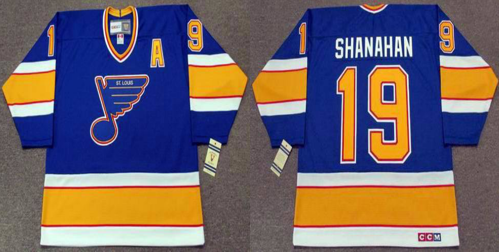 2019 Men St.Louis Blues 19 Shanahan blue style 2 CCM NHL jerseys