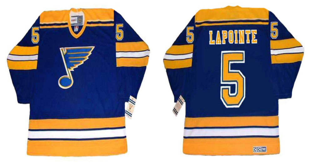 2019 Men St.Louis Blues 5 Lapointe blue CCM NHL jerseys