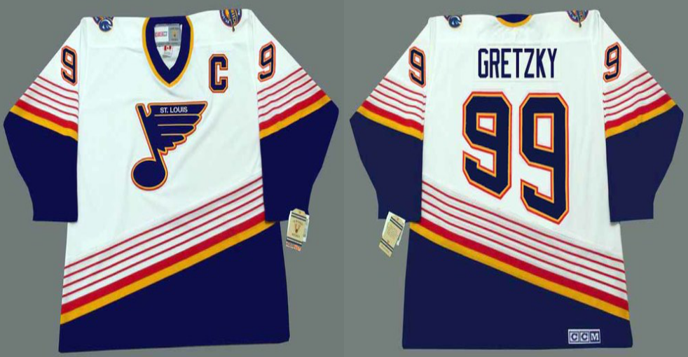 2019 Men St.Louis Blues 99 Gretzky white CCM NHL jerseys