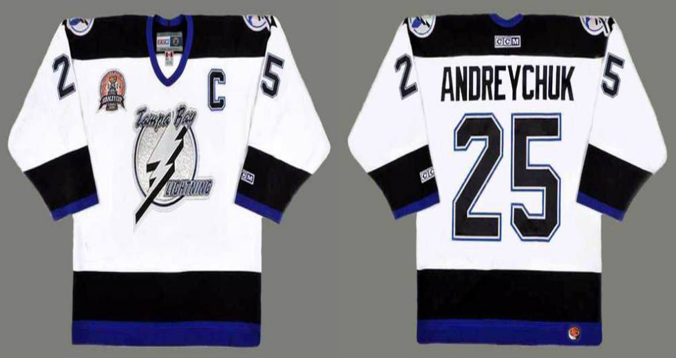 2019 Men Tampa Bay Lightning 25 Andreychuk white CCM NHL jerseys